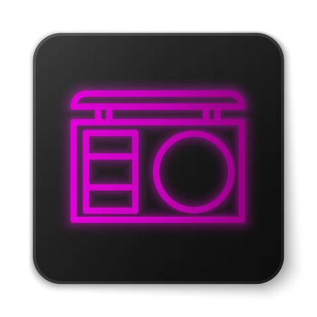 Glowing neon line Eye shadow palette with brush icon isolated on white background. Black square button. Vector Illustration  イラスト・ベクター素材