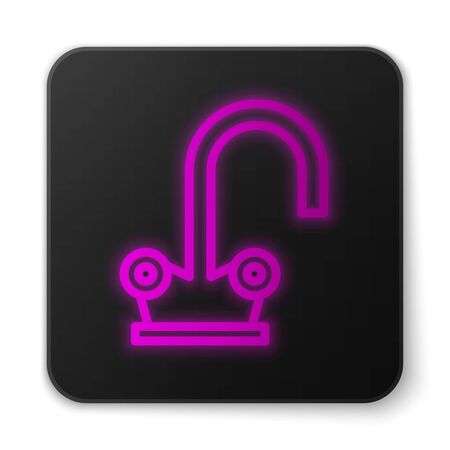 Glowing neon line Water tap icon isolated on white background. Black square button. Vector Illustration
