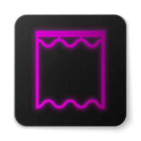 Glowing neon line Curtains icon isolated on white background. Black square button. Vector Illustration Çizim