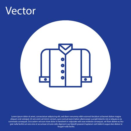 Blue line T-shirt icon isolated on blue background. White circle button. Vector Illustration