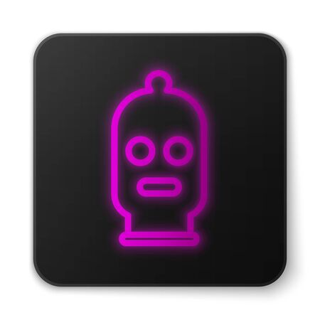 Glowing neon line Balaclava icon isolated on white background. A piece of clothing for winter sports or a mask for a criminal or a thief. Black square button. Vector Illustration Illustration