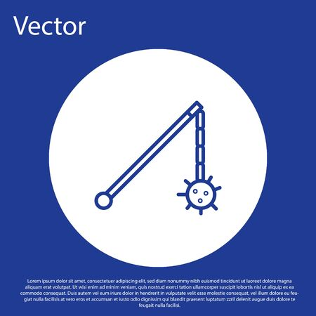 Blue line Medieval chained mace ball icon isolated on blue background. Medieval weapon. White circle button. Vector Illustration