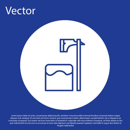 Blue line Executioner axe in tree block icon isolated on blue background. Hangman, torturer, executor, tormentor, butcher, headsman. White circle button. Vector Illustration Иллюстрация