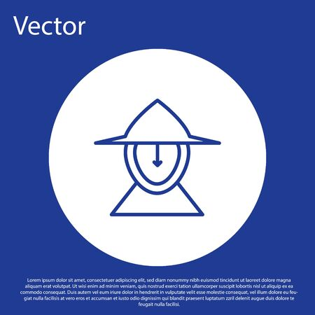Blue line Medieval iron helmet for head protection icon isolated on blue background. White circle button. Vector Illustration