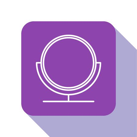 White line Round makeup mirror icon isolated on white background. Purple square button. Vector Illustration