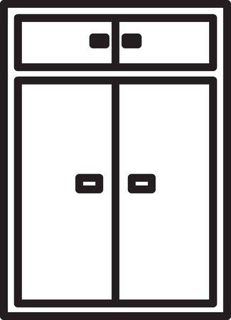 Black line Wardrobe icon isolated on white background. Vector Illustration Illustration