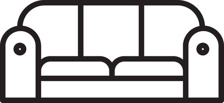 Black line Sofa icon isolated on white background. Vector Illustration