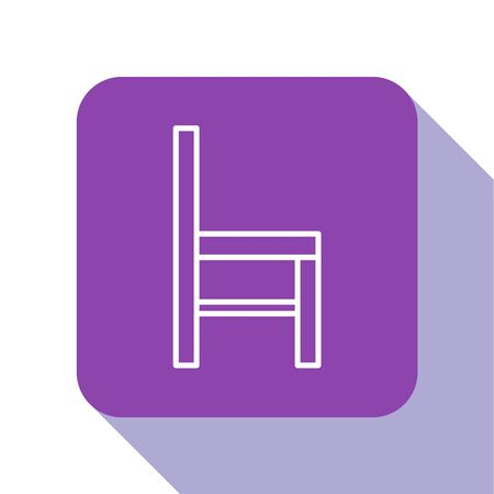 White line Chair icon isolated on white background. Purple square button. Vector Illustration