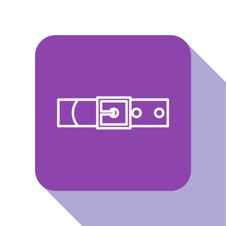 White line Leather belt with buttoned steel buckle icon isolated on white background. Purple square button. Vector Illustration Çizim