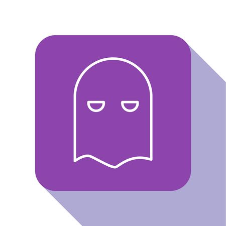 White line Executioner mask icon isolated on white background. Hangman, torturer, executor, tormentor, butcher, headsman icon. Purple square button. Vector Illustration