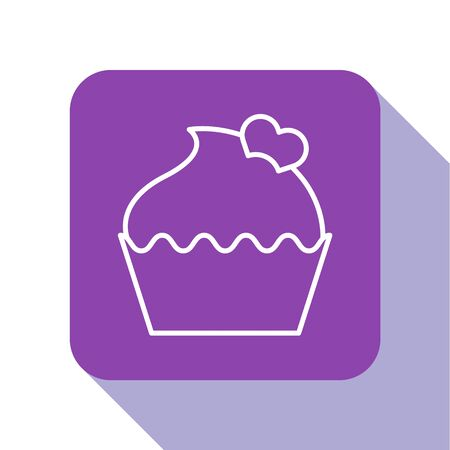 White line Wedding cake with heart icon isolated on white background. Valentines day symbol. Purple square button. Vector Illustration