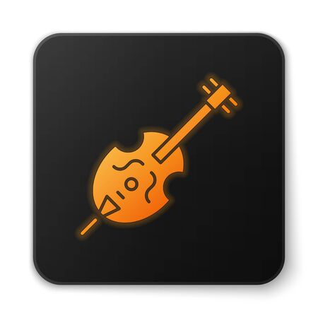 Orange glowing neon Violin icon isolated on white background. Musical instrument. Black square button. Vector Illustration