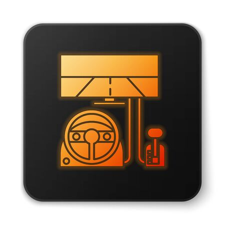 Orange glowing neon Racing simulator cockpit icon isolated on white background. Gaming accessory. Gadget for driving simulation game. Black square button. Vector Illustration