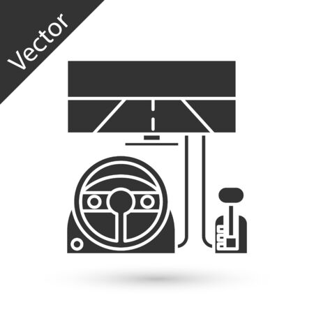 Grey Racing simulator cockpit icon isolated on white background. Gaming accessory. Gadget for driving simulation game. Vector Illustration