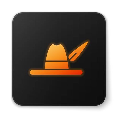 Orange glowing neon Oktoberfest hat icon isolated on white background. Hunter hat with feather. German hat. Black square button. Vector Illustration Ilustracja