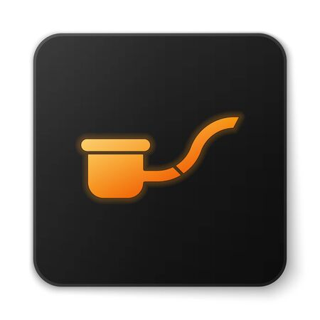 Orange glowing neon Smoking pipe with smoke icon isolated on white background. Tobacco pipe. Black square button. Vector Illustration