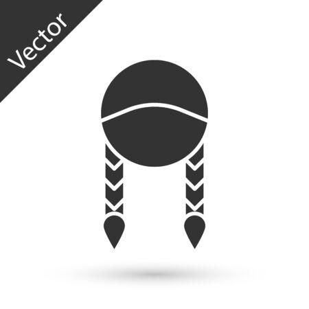 Grey Braid icon isolated on white background. Vector Illustration
