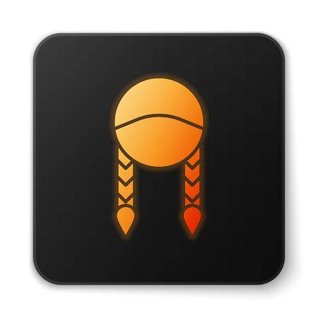 Orange glowing neon Braid icon isolated on white background. Black square button. Vector Illustration