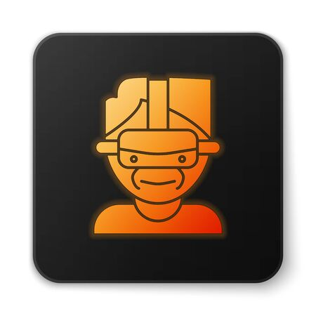Orange glowing neon Virtual reality glasses icon isolated on white background. Stereoscopic 3d vr mask. Black square button. Vector Illustration