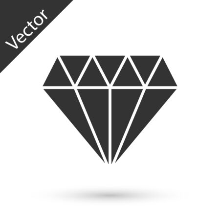 Grey Diamond icon isolated on white background. Jewelry symbol. Gem stone. Vector Illustration