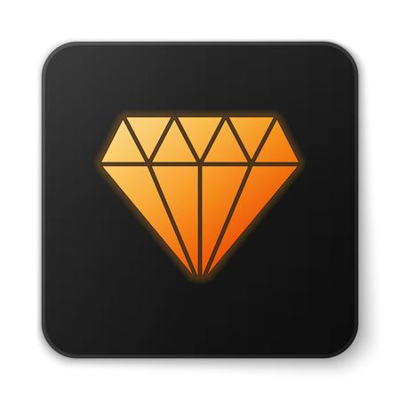 Orange glowing neon Diamond icon isolated on white background. Jewelry symbol. Gem stone. Black square button. Vector Illustration
