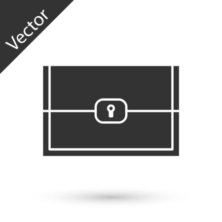 Grey Chest for game icon isolated on white background.  Vector Illustration Illustration