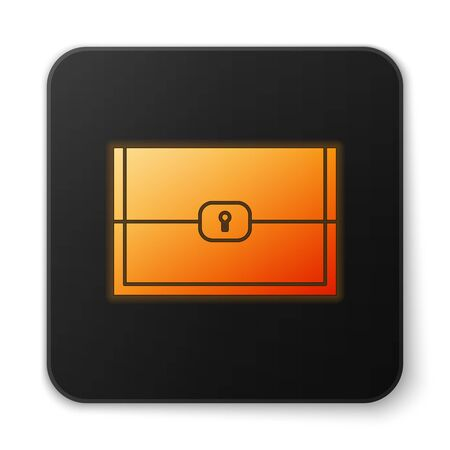 Orange glowing neon Chest for game icon isolated on white background. Black square button. Vector Illustration
