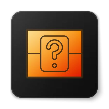 Orange glowing neon Mystery box or random loot box for games icon isolated on white background. Question box. Black square button. Vector Illustration Çizim