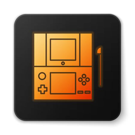 Orange glowing neon Portable video game console icon isolated on white background. Gamepad sign. Gaming concept. Black square button. Vector Illustration