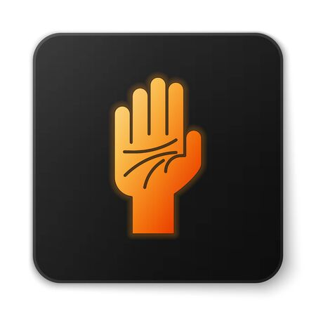 Orange glowing neon Palmistry of the hand icon isolated on white background. Black square button. Vector Illustration