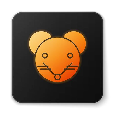 Orange glowing neon Rat zodiac sign icon isolated on white background. Astrological horoscope collection. Black square button. Vector Illustration