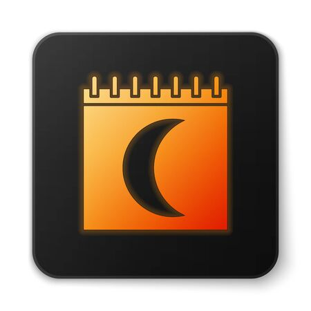 Orange glowing neon Moon phases calendar icon isolated on white background. Black square button. Vector Illustration