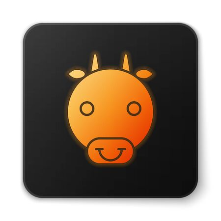 Orange glowing neon Ox zodiac sign icon isolated on white background. Astrological horoscope collection. Black square button. Vector Illustration