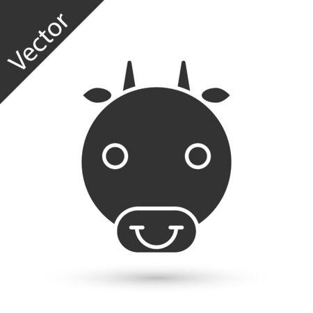 Grey Ox zodiac sign icon isolated on white background. Astrological horoscope collection. Vector Illustration Reklamní fotografie - 137669813