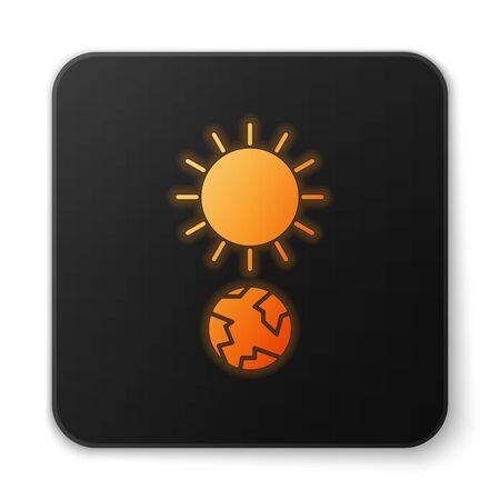 Orange glowing neon Solstice icon isolated on white background. Black square button. Vector Illustration Stock Illustratie