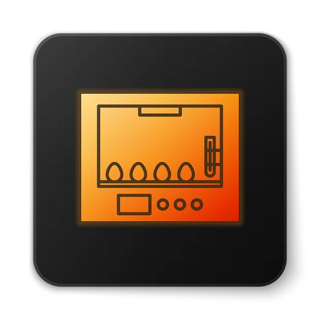 Orange glowing neon Incubator for eggs icon isolated on white background. Black square button. Vector Illustration