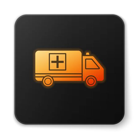 Orange glowing neon Ambulance and emergency car icon isolated on white background. Ambulance vehicle medical evacuation. Black square button. Vector Illustration