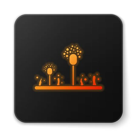 Orange glowing neon Mold icon isolated on white background. Black square button. Vector Illustration