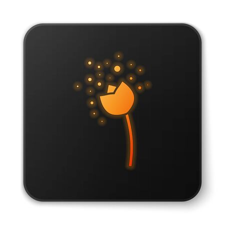 Orange glowing neon Flower producing pollen in atmosphere icon isolated on white background. Black square button. Vector Illustration Ilustracja