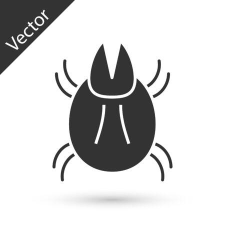 Grey Parasite mite icon isolated on white background. Vector Illustration Illustration