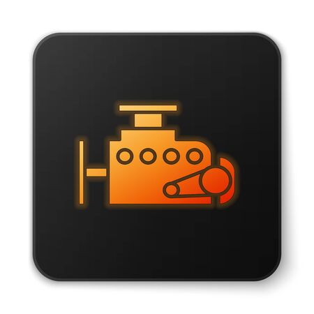 Orange glowing neon Car engine icon isolated on white background. Black square button. Vector Illustration