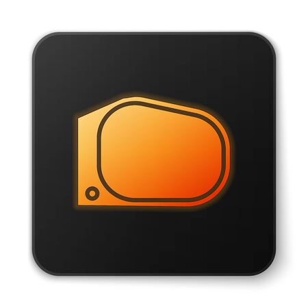 Orange glowing neon Car mirror icon isolated on white background. Black square button. Vector Illustration