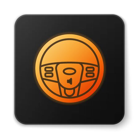 Orange glowing neon Steering wheel icon isolated on white background. Car wheel icon. Black square button. Vector Illustration Stock Vector - 137673085