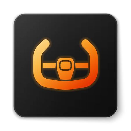 Orange glowing neon Sport steering wheel icon isolated on white background. Car wheel icon. Black square button. Vector Illustration Illustration