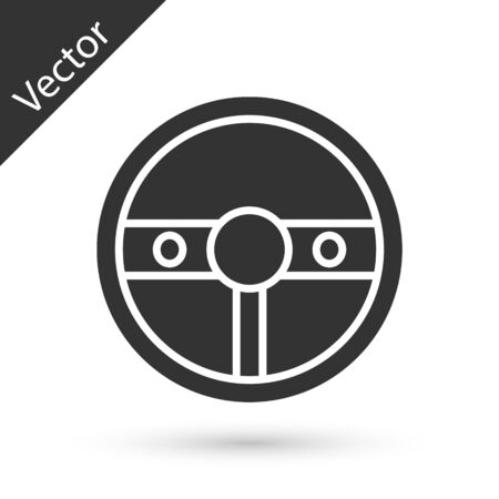 Grey Steering wheel icon isolated on white background. Car wheel icon. Vector Illustration