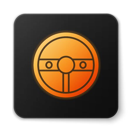 Orange glowing neon Steering wheel icon isolated on white background. Car wheel icon. Black square button. Vector Illustration