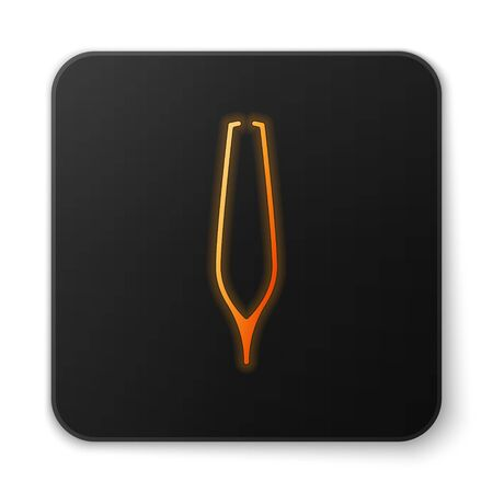 Orange glowing neon Eyebrow tweezers icon isolated on white background. Cosmetic tweezers for ingrown hair. Black square button. Vector Illustration Illustration