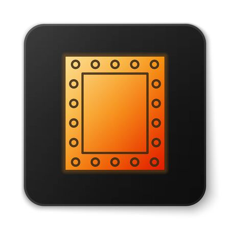 Orange glowing neon Makeup mirror with lights icon isolated on white background. Black square button. Vector Illustration