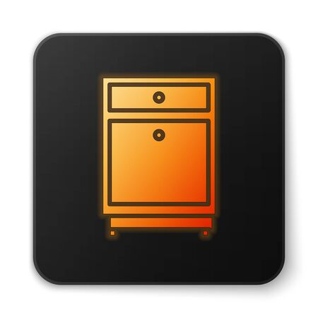 Orange glowing neon Furniture nightstand icon isolated on white background. Black square button. Vector Illustration