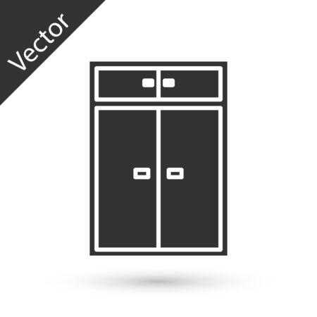 Grey Wardrobe icon isolated on white background. Vector Illustration Ilustração